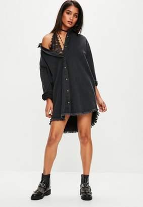 Missguided Black Oversized Denim Shirt