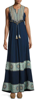 Talitha Collection Embroidered Cotton-Silk Sleeveless Maxi Dress, Navy