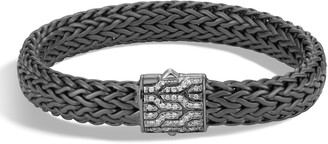 John Hardy Men's Classic Chain Large Flat Chain Bracelet with Pave Diamonds