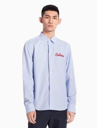 Calvin Klein logo gingham woven cotton shirt