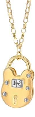 True Rocks - Large Two Tone Gold and Silver Vintage Style Padlock Pendant