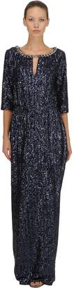 Ingie Paris Sequined Long Dress W/ Chain Trim