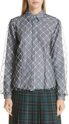 Sandy Liang Embroidered Overlay Blouse