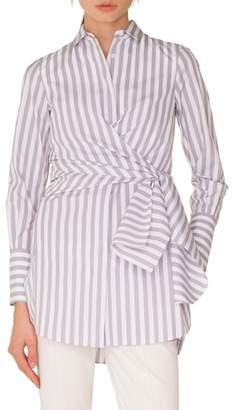 Akris Punto Stripe Cotton Wrap Tunic