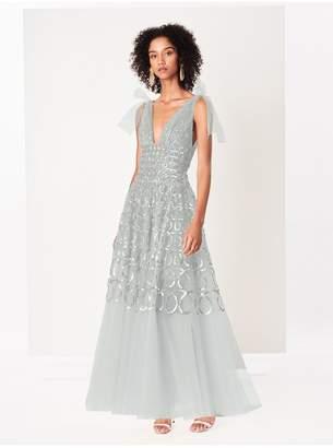 Oscar de la Renta Sequin Loop Embroidered Tulle Gown