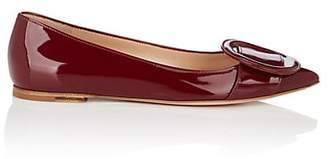 Gianvito Rossi Women's Ruby Buckle-Detailed Patent Leather Flats - Wine