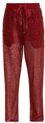 Ashish Straight Leg Bead And Sequin Embellished Trousers - Womens - Burgundy
