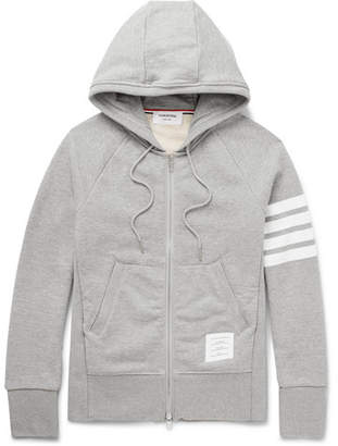 Thom Browne Striped Loopback Cotton-Jersey Zip-Up Hoodie - Gray