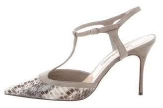 Manolo Blahnik Python T-Strap Sandals Grey Python T-Strap Sandals