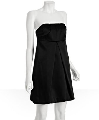 A.B.S. black pleated sateen strapless bubble dress