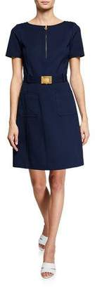 Tory Burch Short-Sleeve Belted Fit-and-Flare Ponte Dress