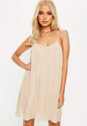 Missguided Nude Strappy Pleated Sundress