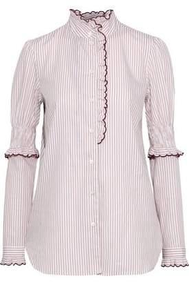 See by Chloe Ruffle-Trimmed Striped Cotton-Poplin Blouse