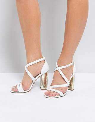 09102e3800e Miss KG Cross Strap Metallic Block Heel Sandal