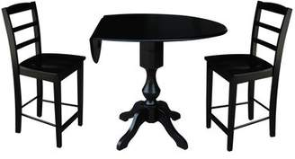 Alcott Hill Aquin Round Top Drop Leaf Pedestal 3 Piece Adjustable Pub Table Set Alcott Hill