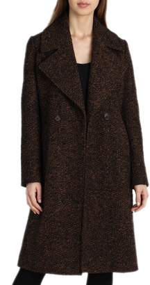 Badgley Mischka Notch Collar Boucle Wool Blend Coat