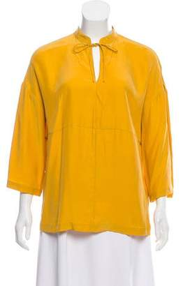 Frame Silk Three-Quarter Sleeve Top