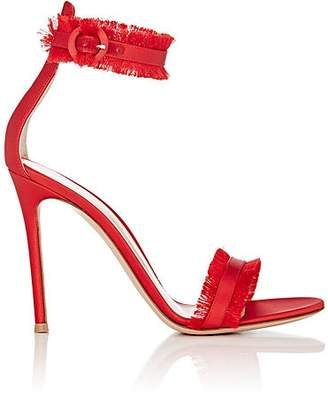 Gianvito Rossi WOMEN'S CARIBE FRINGED SATIN ANKLE-STRAP SANDALS - TABASCO RED SIZE 5.5