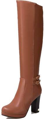 DoraTasia Knee High Rubber Sole Buckle Decoration High Heel Women's Platform Boots