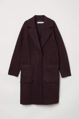 H&M Knit Wool-blend Coat - Red