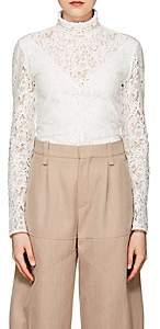 Chloé Women's Cotton-Blend Lace High-Neck Top - White