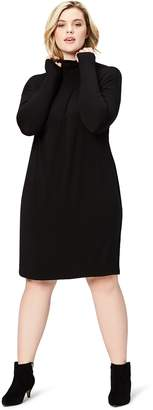 Daily Ritual Women's Long-Sleeve Turtle Neck Sweater-Knit Drop Shoulder Dress Dress
