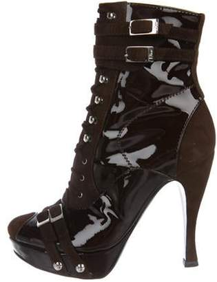 Christian Dior Patent Leather Lace-Up Boots Brown Patent Leather Lace-Up Boots