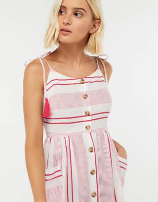 Accessorize Red Stripe Cold Shoulder Dress