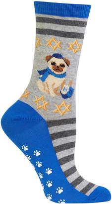Hot Sox Hanukkah Festive Pug Non-Skid Socks