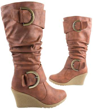 2789702b838 Top Moda Shoes Women s Pure-65 High Heel Knee Height Boots with Buckle  Straps 5.5