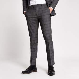 Mens Dark Grey check suit trousers
