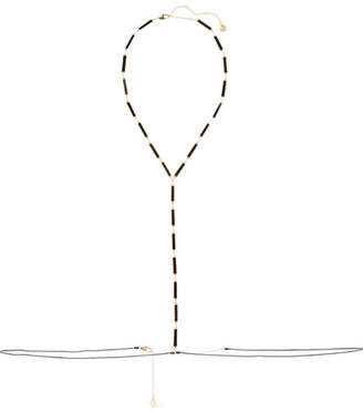 Arme De L'Amour - Gold-plated, Enamel And Cord Body Chain - Black