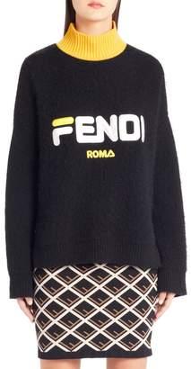 Fendi Sport Logo Wool & Cashmere Turtleneck Sweater