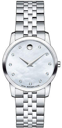 Movado Museum Stainless Steel Mother-of-Pearl Diamond Accent Bracelet Watch