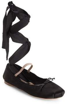 Miu Miu Lace-Up Satin Ballet Flats
