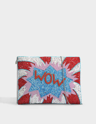 FROM ST XAVIER Wow Clutch in Blue, Red Sequins, Beads and Polyester