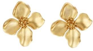Oscar de la Renta Gold Flower Button Earrings