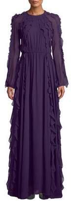 Giambattista Valli Long-Sleeve Tie-Waist Ruffled Silk Chiffon Evening Gown
