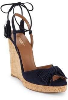 Aquazzura Wild One Leather Wedge Sandals
