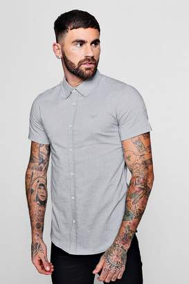 boohoo Short Sleeve Texture Shirt In Muscle Fit