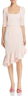 Black Halo Evelyn Ruffle Sheath Dress