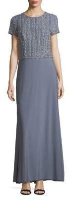 Cachet Short Sleeve Beaded Gown