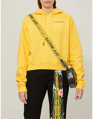 Off-White Quotes cropped cotton-jersey hoody