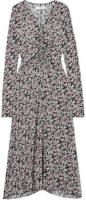 Etoile Isabel Marant Tova Floral-print Stretch-jersey Midi Dress - Black