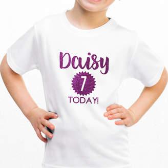 Hurley Sarah Personalised Children's Birthday Glitter T Shirt
