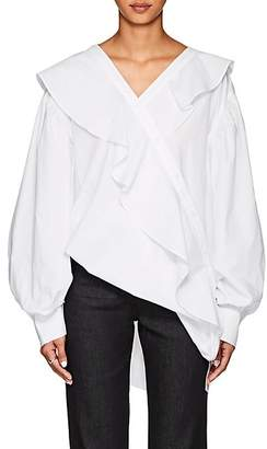 J KOO Women's Asymmetric Ruffled Cotton Poplin Blouse - White