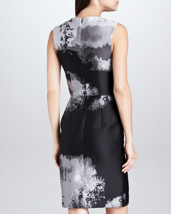Mary Katrantzou Fitted Abstract Jacquard Sheath Dress, Black/Gray/White