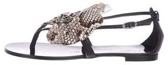 Giuseppe Zanotti Snakeskin-Trimmed Thong Sandals