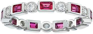 Swarovski Platinum Plated Sterling Silver Created Eternity band Zirconia Accents Ring
