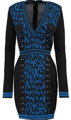 Balmain Lace-Up Intarsia-Knit Mini Dress